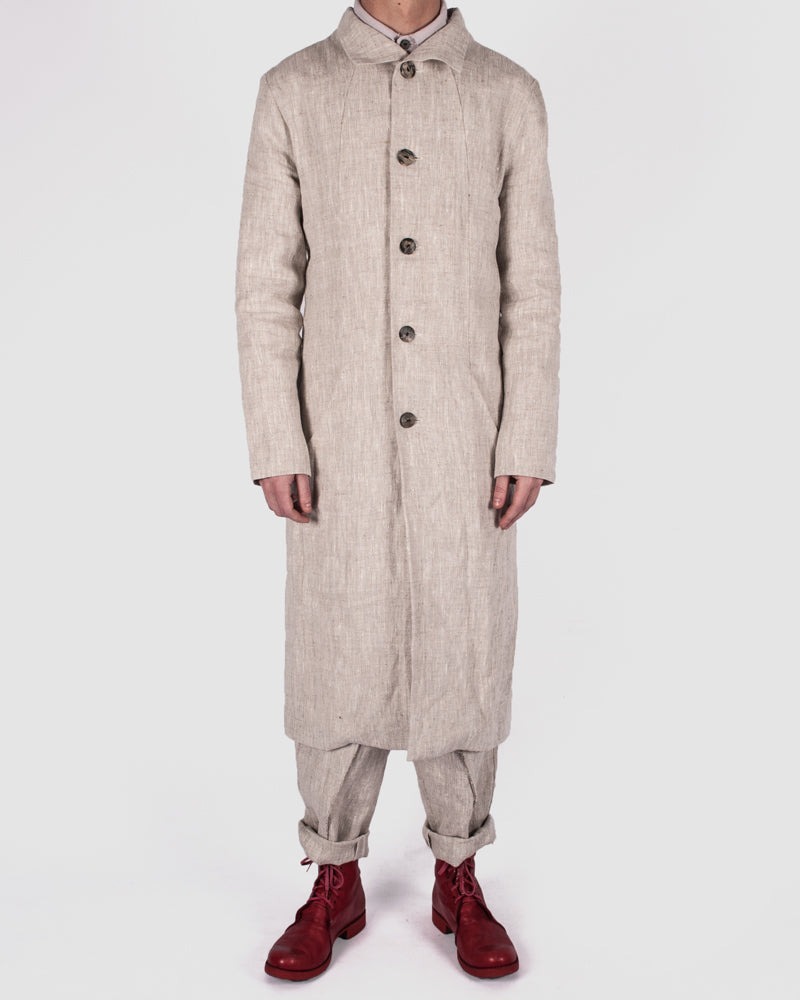 Atelier Aura - Larus long coat nature linen - Stilett.com
