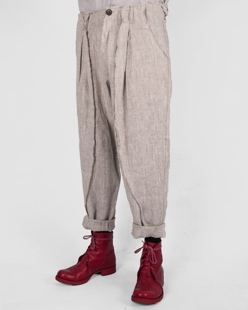 Atelier Aura - Jóhann deepcrotch trousers, nature linen - Stilett