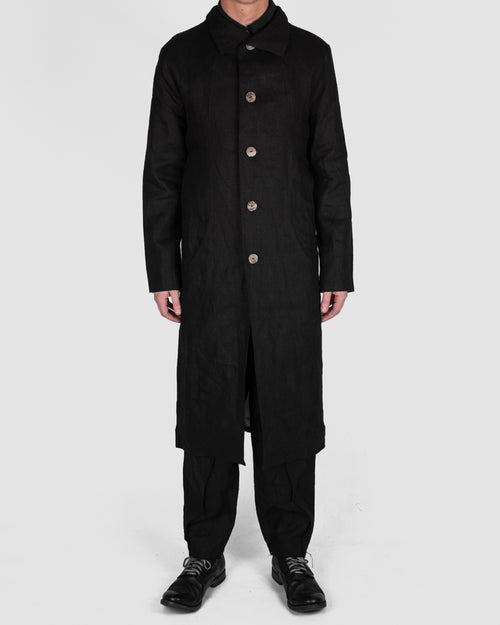 Atelier Aura - Lárus long coat, black linen