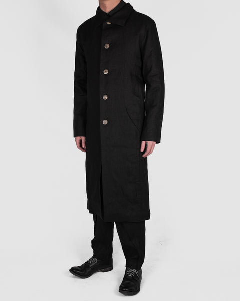 Atelier Aura - Lárus long coat, black linen - Stilett.com