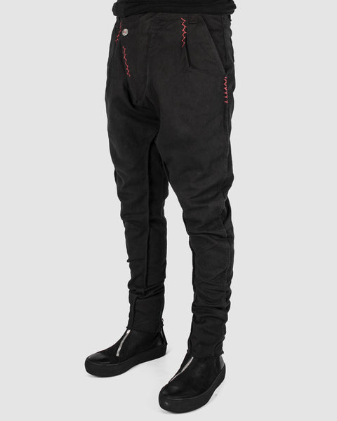 Zam Barrett - Red stitched drop pants - Stilett.com