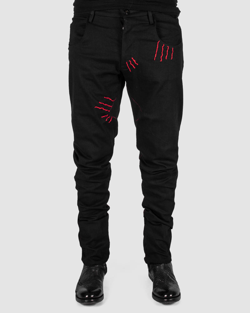 Zam Barrett - Red stitched pants - Stilett.com