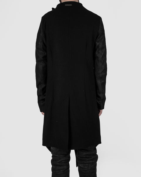 Army of me - Leather sleeved wool coat - Stilett.com