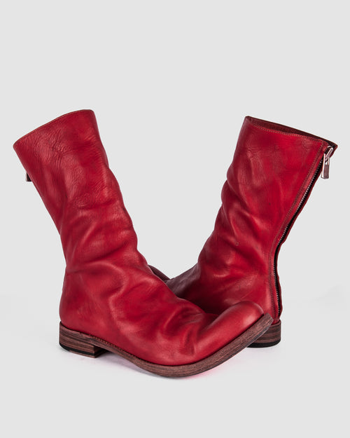 Atelier Aura - AAEB01 back zip tall boots - Chili Red - Stilett.com