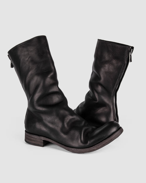 Atelier Aura - AAEB01 back zip tall boot - Jet Black