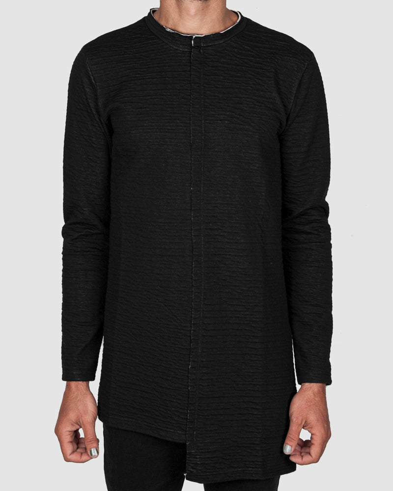 La haine inside us - Asymmetric contrast cotton sweater - Stilett.com