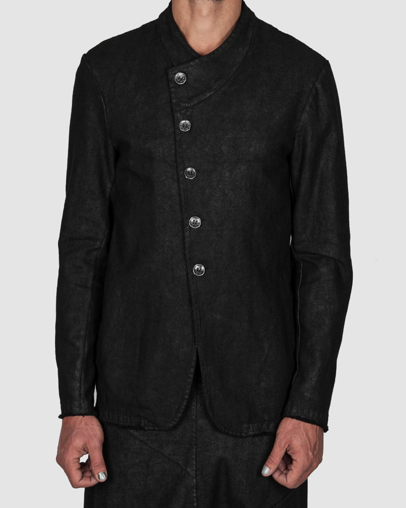 La haine inside us - Laminated buttoned stretch jacket - Stilett.com