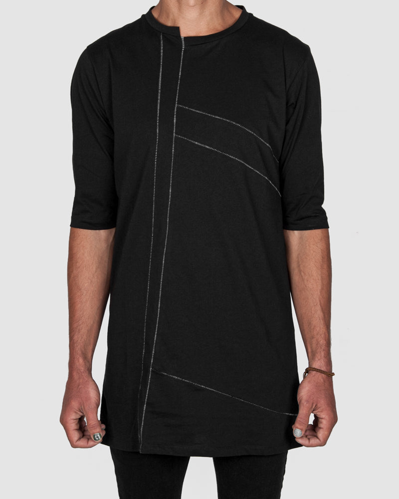 La haine inside us - Long contrast seamed tshirt black - Stilett.com