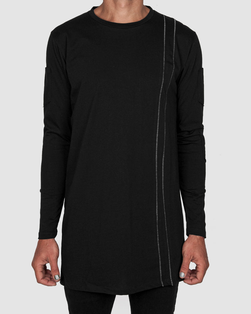 La haine inside us - Long sleeve contrast seam shirt black - Stilett.com