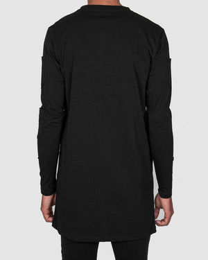 La haine inside us - Long sleeve contrast seam shirt black - https://stilett.com/