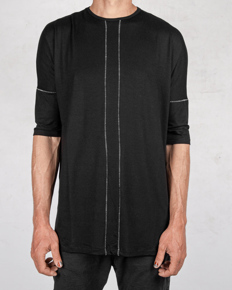 La haine inside us - Contrast seam long tshirt black - Stilett.com