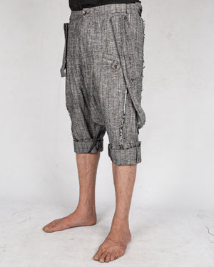 La haine inside us - Drop crotch linen trouser grey - https://stilett.com/