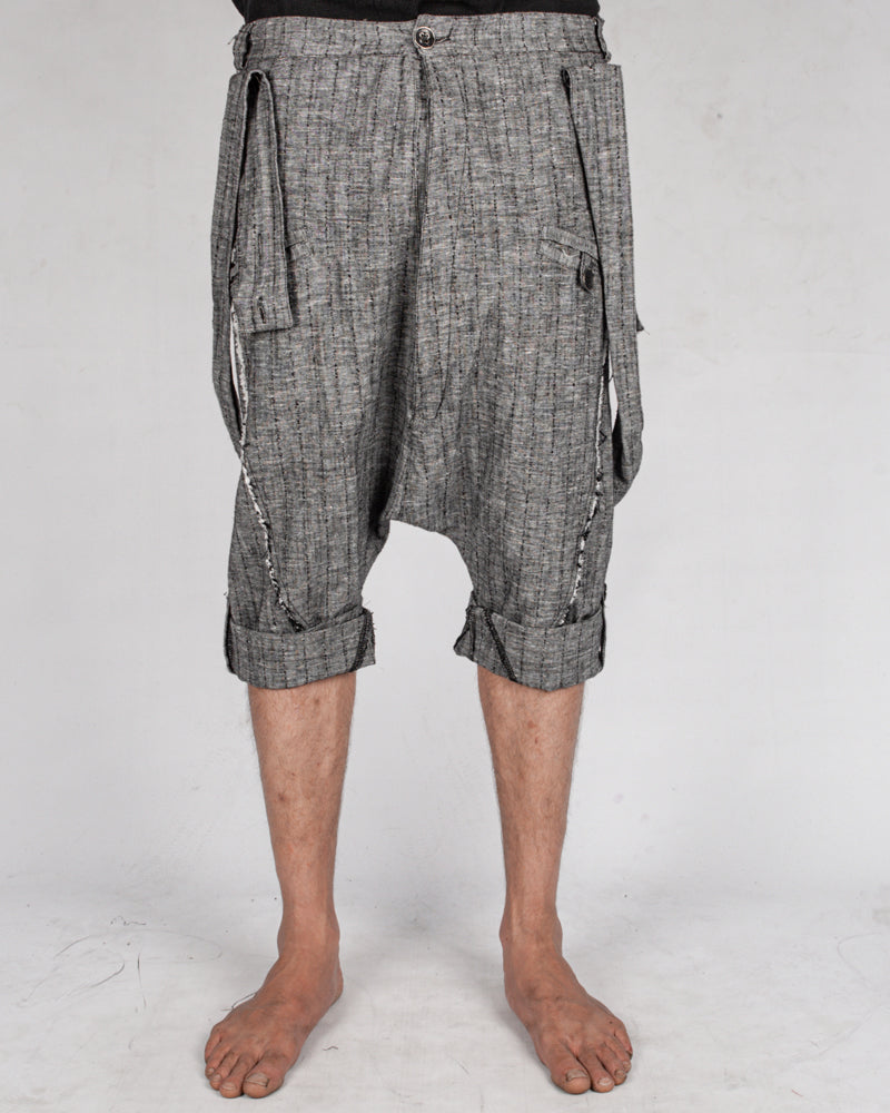 La haine inside us - Drop crotch linen trouser grey - Stilett.com
