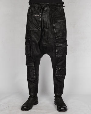 La haine inside us - Laminated low crotch gabardina cotton trouser - https://stilett.com/