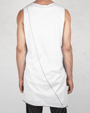La haine inside us - Long crew neck tank top white - https://stilett.com/