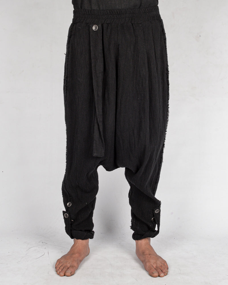 Low crotch cotton trousers