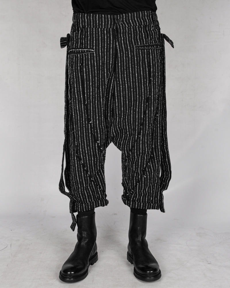 La haine inside us - Low crotch pinstripe cotton trousers - Stilett.com