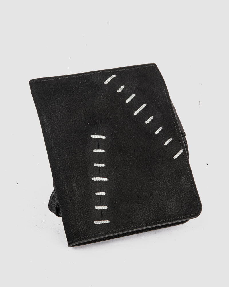 Quandry scar stitched leather wallet