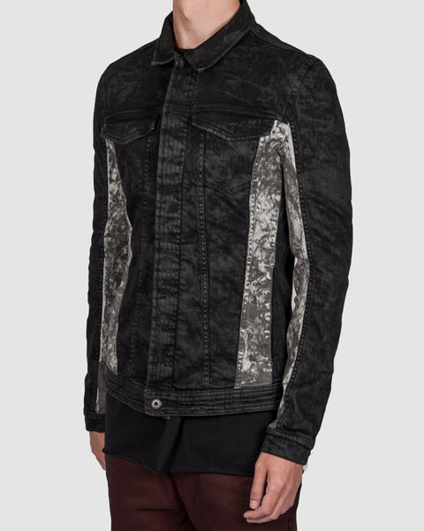 Versuchskind - CARL black and white material-mix denimjacket - Stilett.com