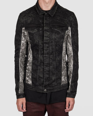 Versuchskind - CARL black and white material-mix denimjacket - https://stilett.com/