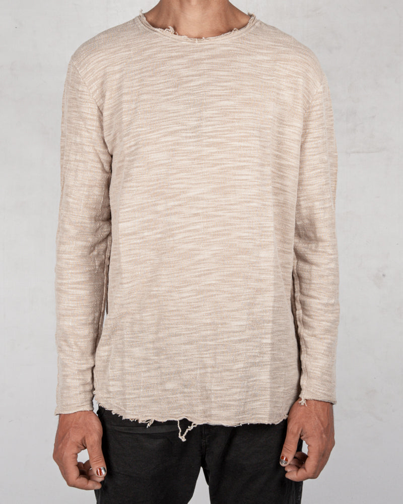 Xagon - Oversize flamed cotton sweater beige - https://stilett.com/