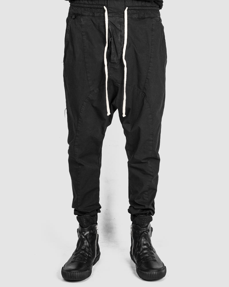 Xagon - Drawstring low crotch stretch pants black - https://stilett.com/