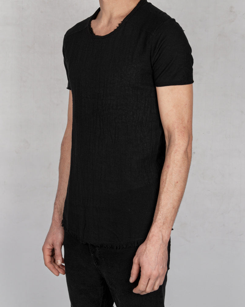 Xagon - Regular fit linen cotton tshirt black - Stilett.com