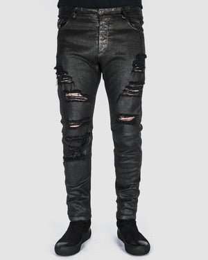 Xagon - Waxed distressed pants - https://stilett.com/