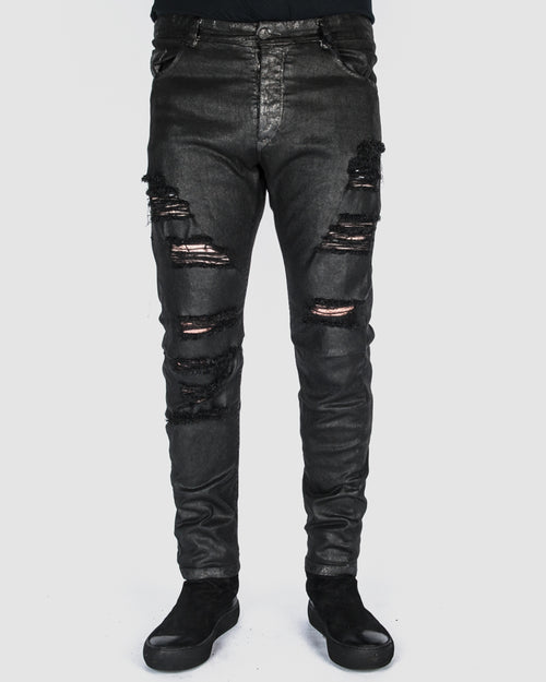 Waxed distressed pants