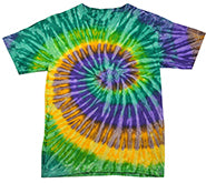 Tie-Dye Short Sleeve T-Shirt Mardi Gras Multi Color