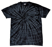 Tie-Dye Short Sleeve T-Shirt Spider Black Single Color
