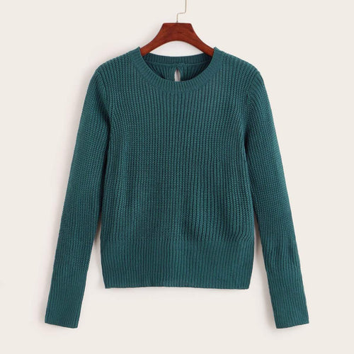 Twist Back Solid Pullover Jumper