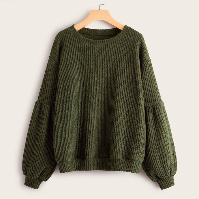 Solid Drop Shoulder Bishop Sleeve Jumper