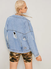 Load image into Gallery viewer, Solid Ripped Raw Hem Denim Jacket