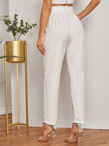 Vertical Striped Paperbag Waist Belted Pants