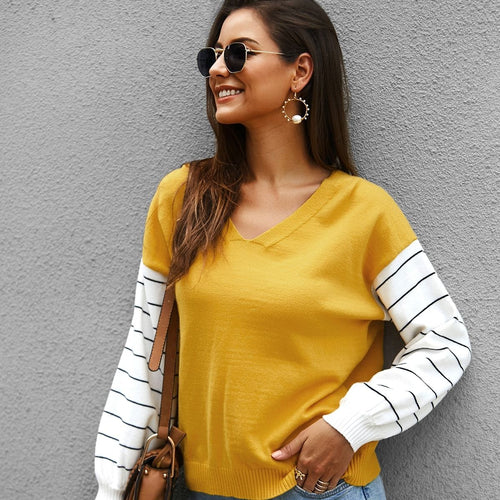 V Neck Striped Panel Sleeve Sweater