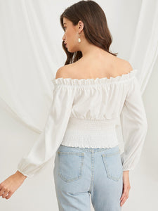 Frill Trim Shirred Waist Bardot Top