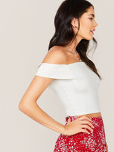 Load image into Gallery viewer, Back Zipper Off The Shoulder Crop Top
