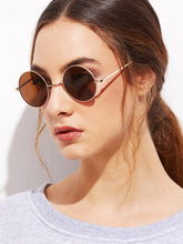 Load image into Gallery viewer, Gold Frame Brown Round Lens Sunglasses