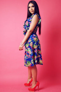 Floral Print, Sleeveless Wrapped Dress With V Neckline And Ruffled Trim