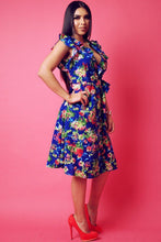 Load image into Gallery viewer, Floral Print, Sleeveless Wrapped Dress With V Neckline And Ruffled Trim