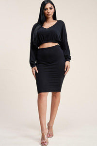 Solid Cropped Top And Skirt Two Piece Set