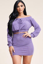 Load image into Gallery viewer, Solid French Terry Long Sleeve Off The Shoulder Top And Skirt Two Piece Set