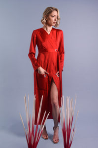 Red Silk Shirt Dress With Front Pockets