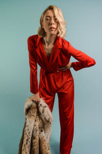Red Silk Jumpsuit