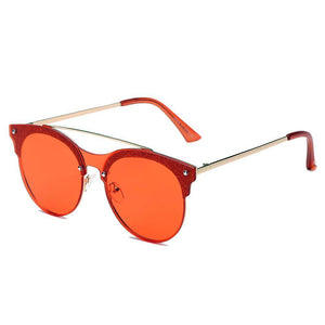 ENDICOTT | S3011 - Round Circle Brow-Bar Tinted Lens Sunglasses