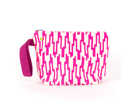 small knitting project bag with grommet system and hot pink geometric pattern.
