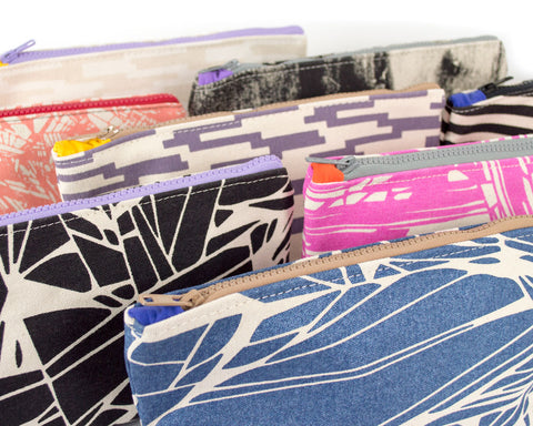 Image showing a variety of patterns for knitting notions and pencil cases.