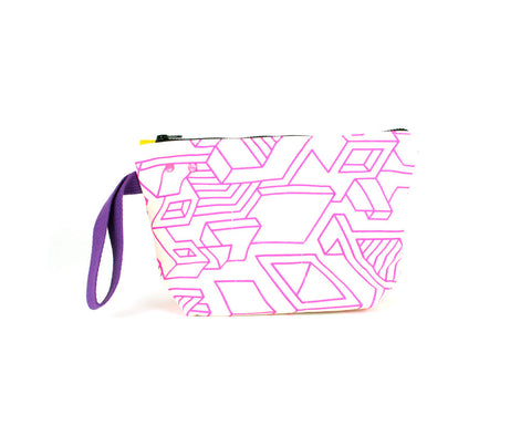Picture showing a medium project knit bag with grommet and snap system. Hot pink isometric pattern.