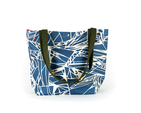 Large project knitting bag with unique grommet snap system with a metallic blue abstract pattern.